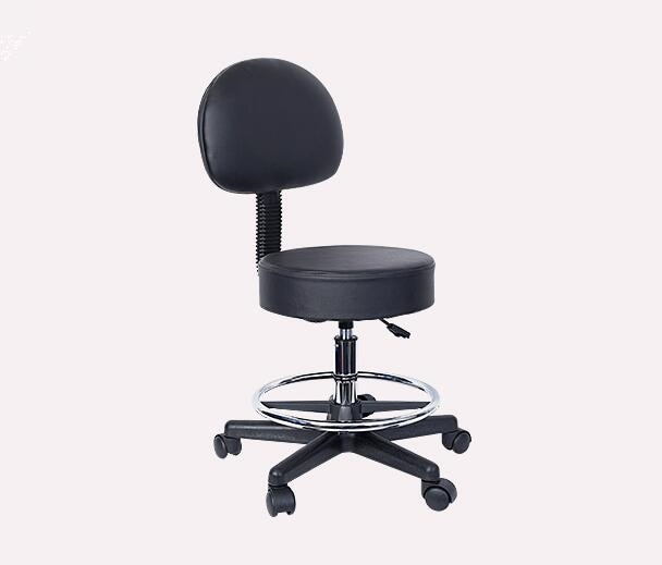 Height Adjustable Black Hydraulic Rolling Stool With Back